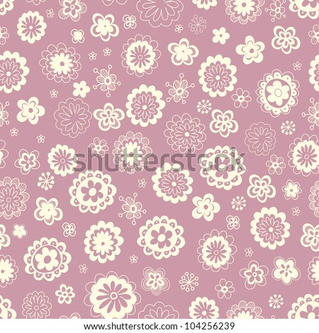 Fantasy hand drawn pretty floral vector seamless pattern. Endless floral pattern can be used for wallpaper, wrapping design, till design, web page background, surface textures and other