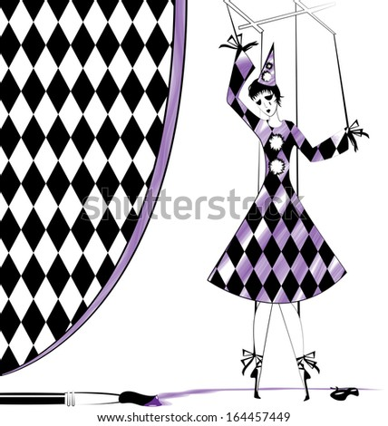 fantasy hand puppet Pierrette and brush with purple paint - stock vector