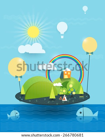 Fantasy  home paper cut -similar island. Tree,fish, flower and green hill with sunshine and rainbow, Hot air balloon  with blue sky ,sea,cloud background. Illustration vector house on peaceful Island  - stock vector