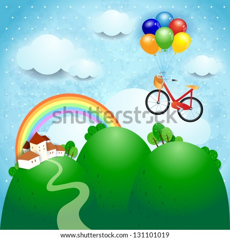 Fantasy illustration with bicycle, vector - stock vector
