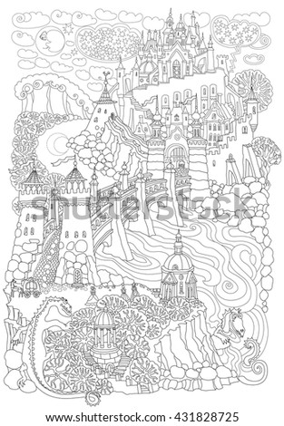 Fantasy landscape. Fairy tale castle on a hill. Fantastic garden, river, stone arch bridge. Funny dragon, horse carriage.T-shirt print. Album cover. Children and adults Coloring book page. Black White - stock vector
