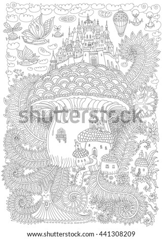 Fantasy landscape. Fairy tale medieval castle on a fantastic mushroom. Stylized fern foliage, snail. Flying balloon.T-shirt print. Album cover. Adults and children coloring book page. Black and white - stock vector