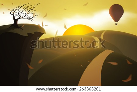 fantasy landscape hot air balloon flying at sunset vector - stock vector