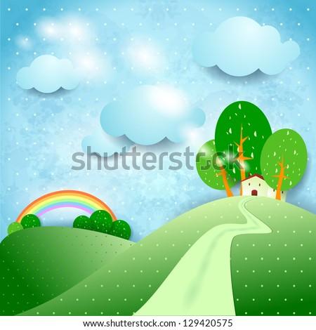 Fantasy landscape, vector - stock vector