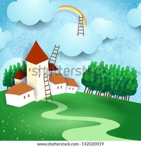 Fantasy landscape, vector illustration - stock vector