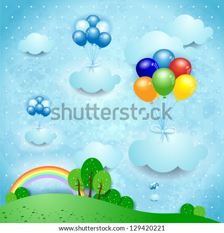 Fantasy landscape with balloons, vector - stock vector