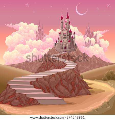 Fantasy landscape with castle. Cartoon vector illustration - stock vector