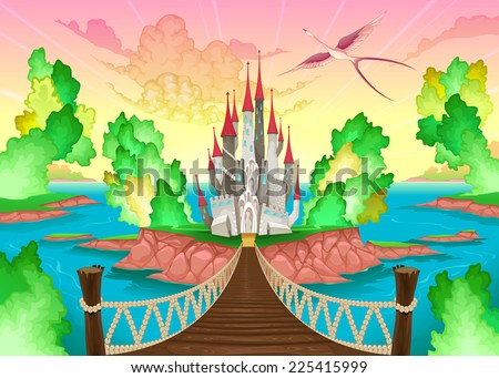 Fantasy landscape with castle. Somewhere inside me. Vector illustration - stock vector