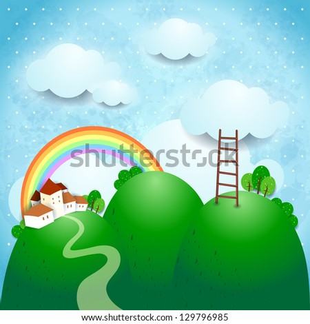 Fantasy landscape with country. Vector illustration - stock vector