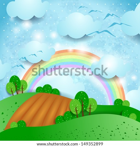 Fantasy landscape with cultivated fields, vector - stock vector