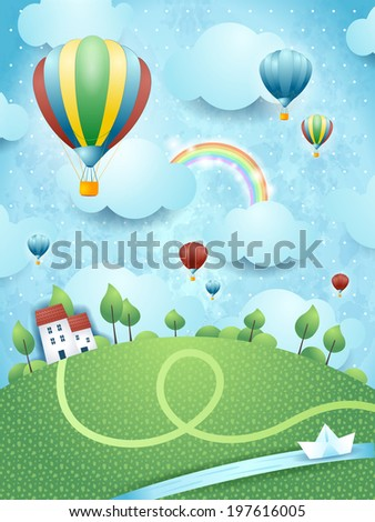 Fantasy landscape with hot air balloons and river, vector  - stock vector