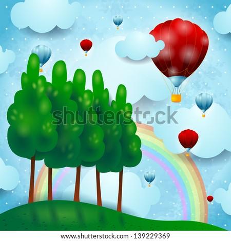 Fantasy landscape with hot air balloons, vector - stock vector