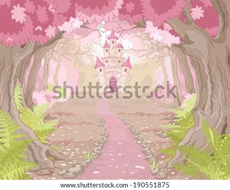 Fantasy landscape with magic fairy tale princess castle  - stock vector