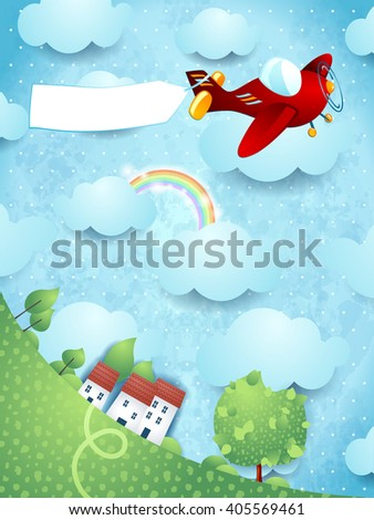 Fantasy landscape with red airplane and blank banner. Vector illustration  - stock vector