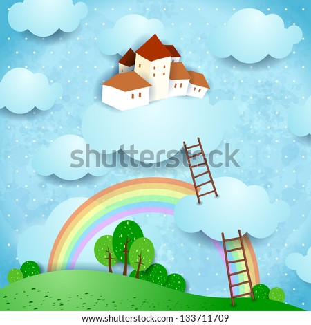 Fantasy landscape with village, vector - stock vector