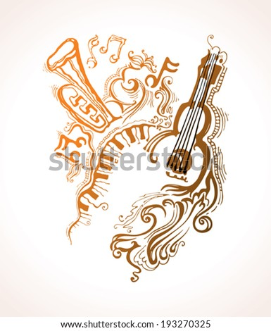 Fantasy musical illustration. Fantasy illustration on a musical theme. - stock vector