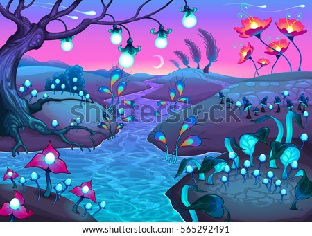 Fantasy nocturnal landscape. Cartoon vector illustration.