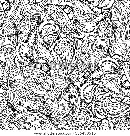 fantasy paisley pattern seamless background coloring book - Paisley Designs Coloring Book