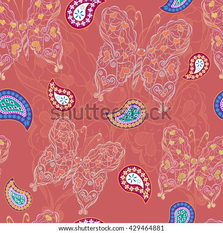 Fantasy pattern with butterflies. Seamless texture with fantasy butterflies. Romantic background. Use: textile, greeting card, wallpaper, wrapping paper, decoupage