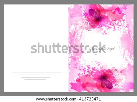 Fantasy Pink vector background with colorful flower and blots. Abstract floral elements .Bright Colorful Banners with Watercolor floral elements. - stock vector