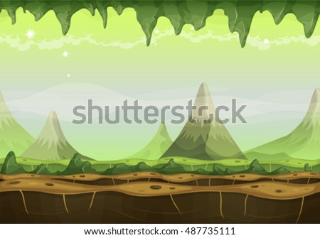 Fantasy Sci-fi Alien Landscape For Game Ui/ Cartoon seamless funny sci-fi alien planet landscape background, with mountains range layers for parallax, stalactite, stars and planets for ui game