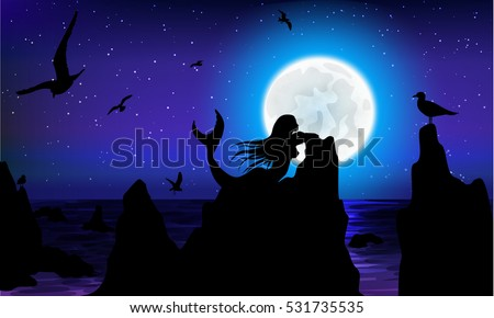 fantasy seascape with moon, mermaid, gull. vector illustration
