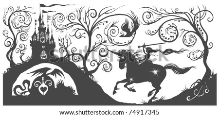 Fantasy silhouette illustration with girl on horse. - stock vector