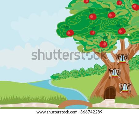 Fantasy tree house  - stock vector