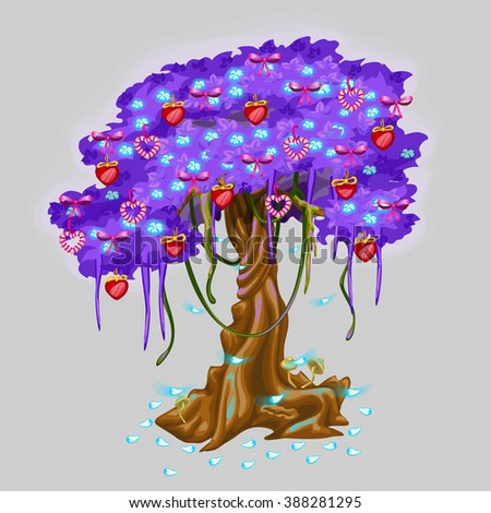 Fantasy tree with blue foliage is decorated with pendants in the form of red hearts and bows of red ribbon. Vector illustration. - stock vector