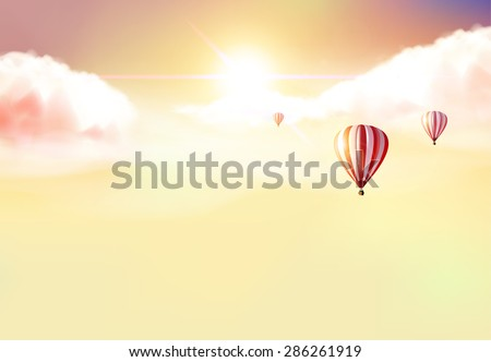 Fantasy Vector Background, Sunset and hot air ballons on cloudy sky. - stock vector