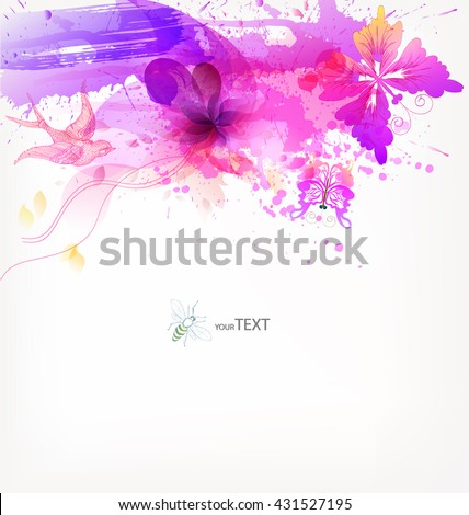 Fantasy  vector background with colorful floral elements and blots.  - stock vector