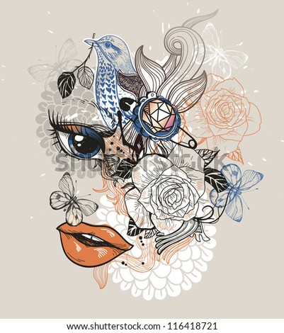 fantasy vector illustration of an abstract girl and floral mix - stock vector