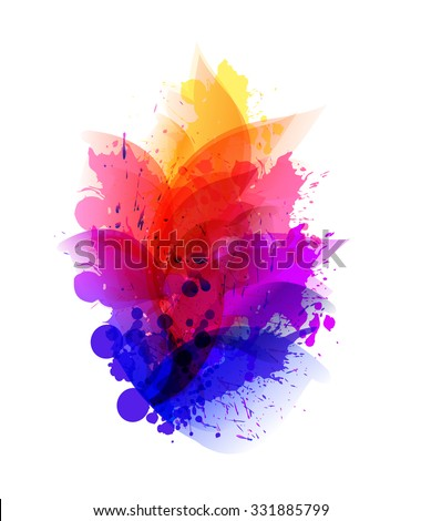 Fantasy Watercolor vector background with blots. Abstract floral elements . - stock vector