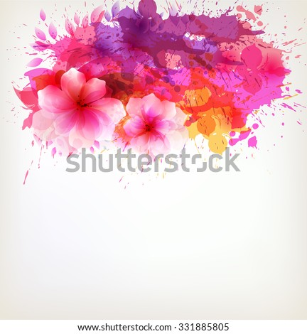 Fantasy Watercolor vector background with colorful flower and blots.  - stock vector
