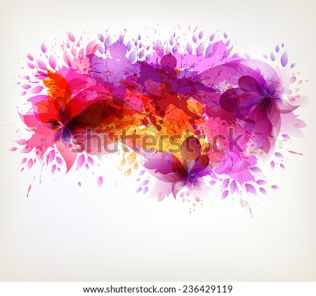 Fantasy Watercolor vector background with colorful flower and blots. Abstract floral elements .  - stock vector