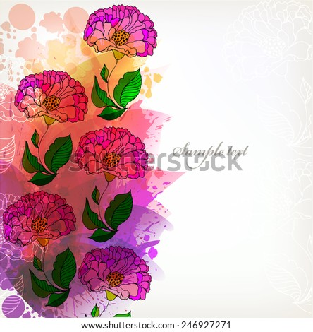 Fantasy Watercolor vector background with colorful flower and blots. Abstract floral elements  - stock vector