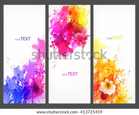 Fantasy Watercolor vector background with colorful flower and blots. Abstract floral elements .Rainbow Colorful Banner Design - stock vector
