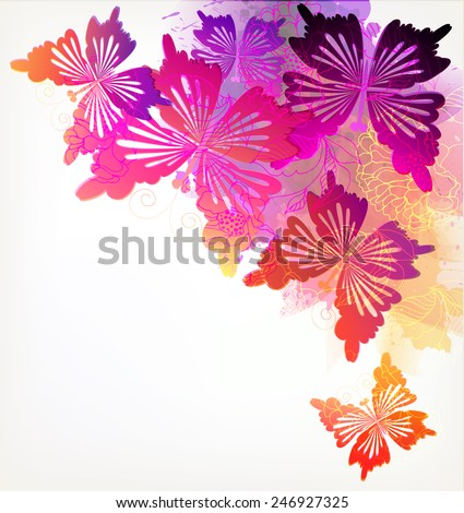 Fantasy Watercolor vector background with colorful flower and butterflies.  - stock vector