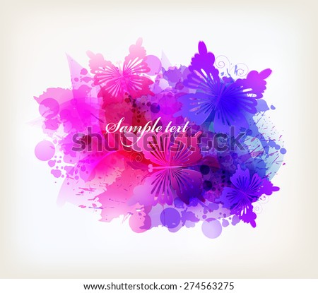 Fantasy Watercolor vector background with colorful flower and butterflies. Abstract floral elements  - stock vector
