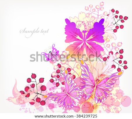 Fantasy Watercolor vector background with colorful flower and butterflies. Floral invitation. - stock vector
