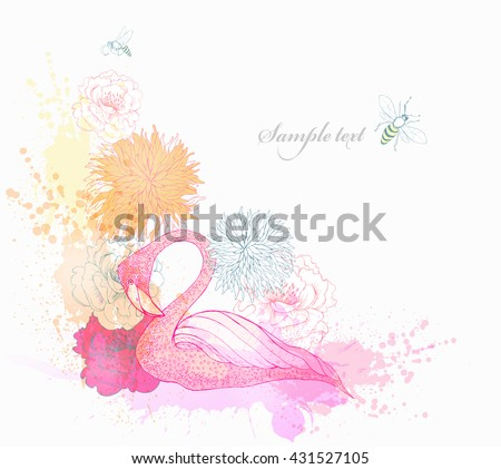 Fantasy Watercolor vector background with colorful Tropical Flowers and Flamingo. Fashion Graphic.  - stock vector