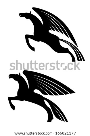 Fantasy winged horses in silhouette style for tattoo or heraldry design