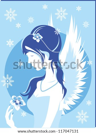 fantasy winter girl vector