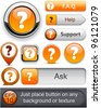 FAQ orange web buttons for website or app. Vector eps10. - stock vector