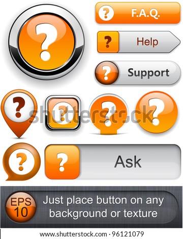 FAQ orange web buttons for website or app. Vector eps10. - stock vector