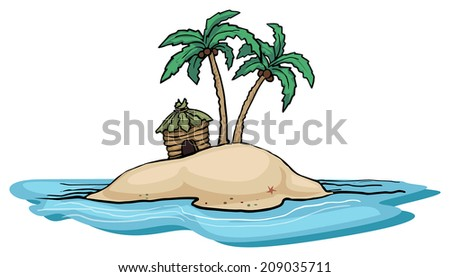 Far away island with palm tree and a single hut, vector illustration