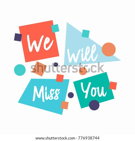 Farewell Card We Will Miss You Stock Vector   Shutterstock
