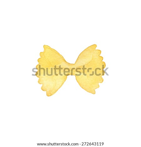 Farfalle. Hand-drawn Italian pasta. Real watercolor drawing. Vector illustration. Traced painting - stock vector