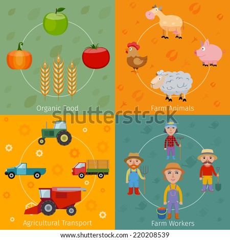 Farm agriculture farmer flat set with organic food animals transport workers isolated vector illustration - stock vector