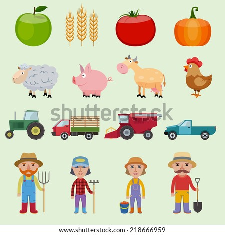 Farm agriculture icons set with food farmer animals and machines isolated vector illustration - stock vector